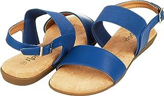 Floopi Womens Summer Criss Cross Slingback Elastic Strap Flat Sandal US