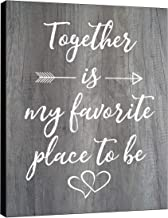 "LACOFFIO Together is My Favorite Place to Be 9""x12"" Rustic Wooden Wall Art Decor - Quotes Sign - Housewarming Gift Idea"