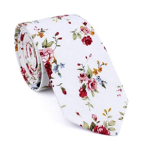 f00da95a99fc DAZI Men's Skinny Tie Floral Print Cotton Necktie, Great for Weddings,  Groom, Groomsmen