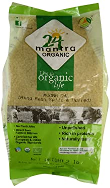 Organic Moong Dal USDA Certified Organic European Union Certified Organic Pesticides Free Adulteration Free Sodium Free - 2 Lbs - 24 Mantra Organic