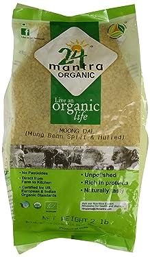 Organic Moong Dal USDA Certified Organic European Union Certified Organic Pesticides Free Adulteration Free Sodium Free - 2 Lbs - 24 Mantra Organic