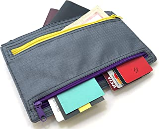 Charcy Travel Wallet Multi Currency and Passport with 5 Zipper Pockets Slim Durable Lightweight