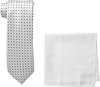 Men's Neat Woven Necktie and Solid Pocket Square