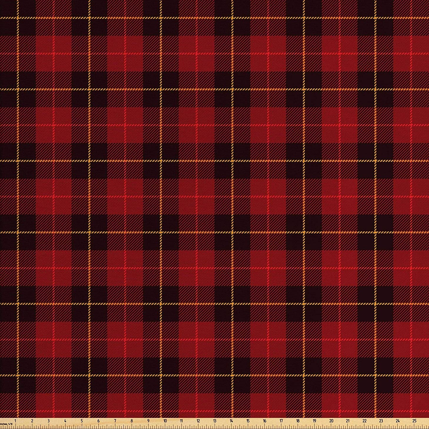 Lunarable Plaid Fabric by The Yard, Ancient Scottish Tartan with Traditional Colors Vintage Country Style, Decorative Fabric for Upholstery and Home Accents, 1 Yard, Ruby Mustard Dark Brown
