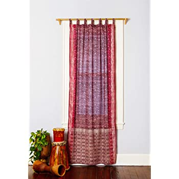 Amazon Com Colorful Window Treatment Draperies Indian Sari Panel 108 96 84 Inch Curtains For Bedroom Living Room Dining Room Kids Teens Canopy Boho Sheer Curtains W Gift Bag Burnt Orange Brown 42 W