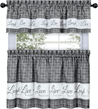 GoodGram Country Gingham Check Live~Laugh~Love 3 Pc. Café Plaid Kitchen Curtain Set - Assorted Colors & Sizes (Gray, 24 in. L)