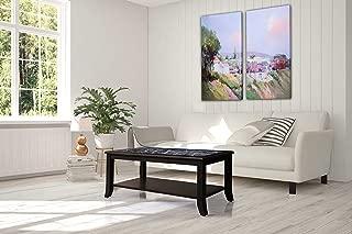 SLEEPLACE 18 Inch Modern GRIGIO VERONA Natural Marble Top / Coffee Table / Solid Wood Edge, Dark Black & Black