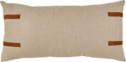Stone & Beam Industrial Leather Detail Throw Pillow - 24 x 12 Inch, Flax with Dark Brown