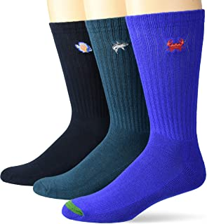 Goodthreads Men's 3-Pack Embroidered Ribbed Crew Sock