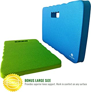 Growerology Thick & Large Kneeling Pads, 18 x 11 x 1 1/2, Multi-Purpose Kneeler for Gardening, Work, Baby Bath, Bathtub, Waterproof Mat Cushion for Home, Fitness, Cleaning, Pack of 2, (Blue & Green)
