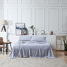 Berklan Linen Bedding Linen Sheets Queen Size 100% French Natural Linen with 16 Inch Deep Pocket Ultra Breathable (1 Flat ...