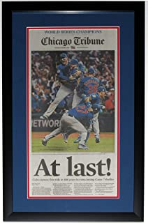 CHICAGO CUBS 2016 WORLD SERIES CHICAGO TRIBUNE NEWSPAPER 11/3/16 - PROFESSIONALLY FRAMED 14x28
