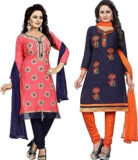 Ethnicset Women's Cotton Silk Salwar Suit Salwar Suit Material (rani-rose-combo)