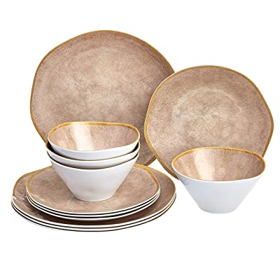 Amazon Basics 12 Piece Melamine Dinnerware Set Service For 4 Grey Weathered Crackle Dinnerware Sets
