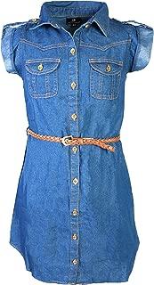 dollhouse Girls Roll Cuff Denim Dress with Braided Belt
