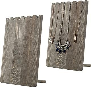 MyGift Set of 2 Barnwood Adjustable-Length Necklace Holder, Jewelry Display Stand