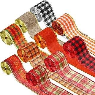 10 Rolls 100 Yards Christmas Buffalo Plaid Ribbon Wired Edge Ribbon Fall Check Ribbon Burlap Style Ribbon Holiday Wrapping...