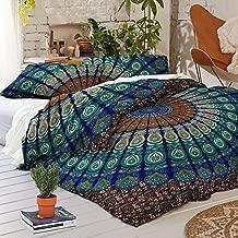 Sophia Art Exclusive Peacock Mandala Duvet Cover with Pillowcases Mandala Doona Cover, Donna Cover Indian Duvet Set (Blue, King)