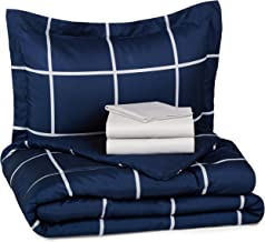 AmazonBasics 5-Piece Bed-In-A-Bag Comforter Bedding Set - Twin or Twin XL, Navy Simple Plaid, Microfiber, Ultra-Soft