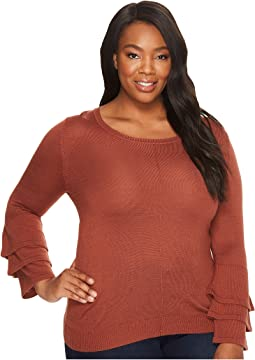 B Collection by Bobeau - Plus Size Ruffle Sleeve Sweater