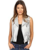 DSQUARED2 - Lamb Leather Silver Leather Gilet Top