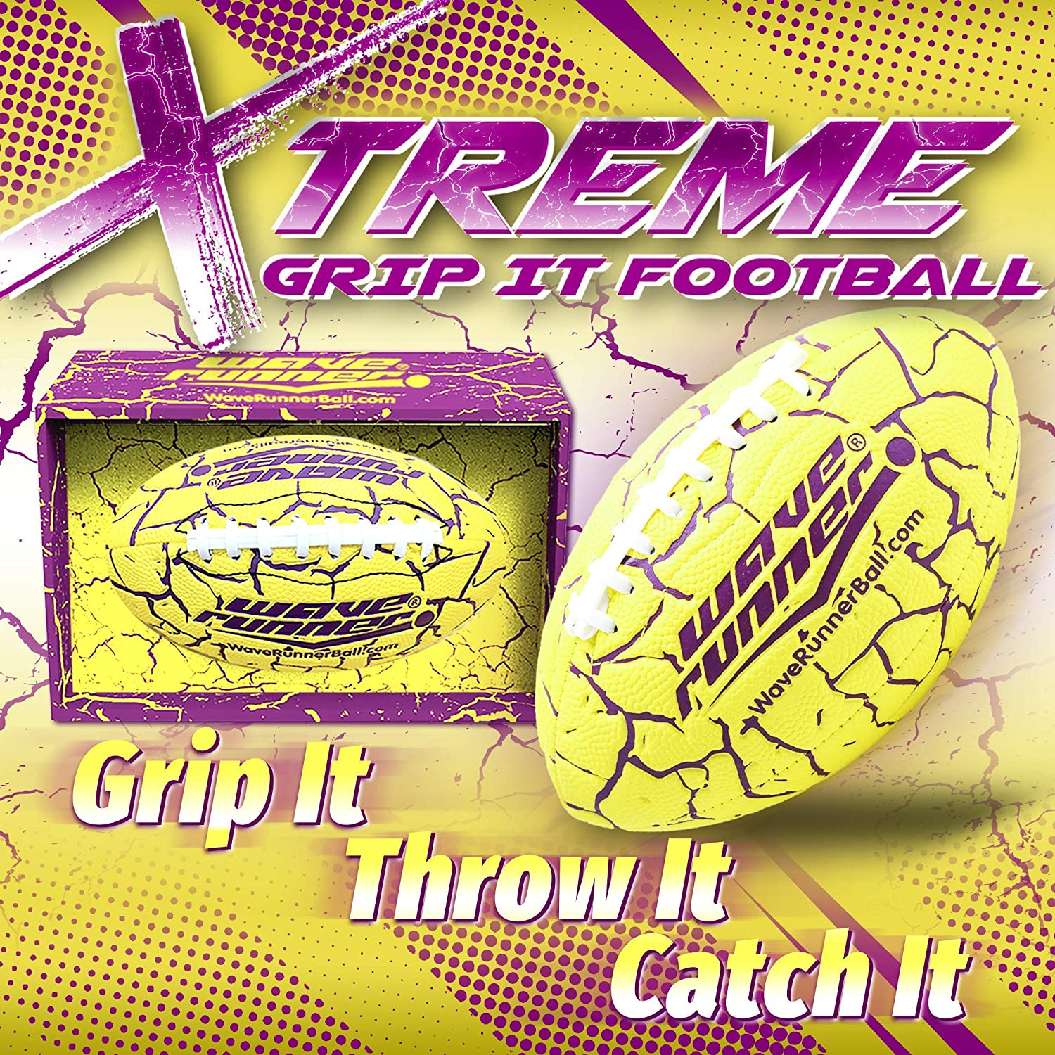Lets Play Football in The Water Black//Blue Wave Runner Grip It Waterproof Football- Size 9.25 Inches with Sure-Grip Technology Xtreme Metallic Series
