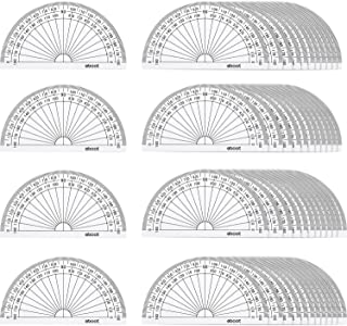 eBoot 50 Pack Math Protractors Plastic Protractor 180 Degrees, 4 Inches, Clear