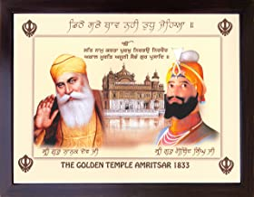 Gurunank dev ji and Guru gobind Singh ji giving Holy blessings and Golden Temple of Amritsar 1833 , A Sikh Religious poster with frame must for every Sikh religious family, office, Gift and Sikh gu