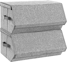 SONGMICS Large Stackable Bins, Cubes with Lids, Storage Organizers with Linen and Oxford Fabric for Kids Toys, Clothes, and Documents, Set of 2, Gray URLB03GY