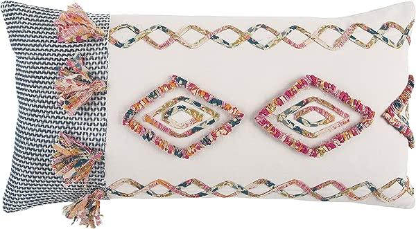 瑞兹家居装饰涤纶填充枕头几何装饰枕头 14x26 粉色多