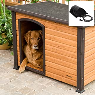 Large Heated Outdoor Wood Dog House Log Cabin Doghouse Kennel