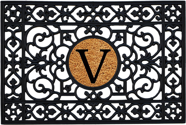 Home & More 160012436V Rubber Monogram Doormat 2-Feet X 3-Feet (Letter V)