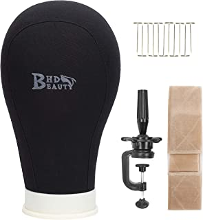 BHD BEAUTY Poly Block Professional Mannequin Head Set (Stand + T Pins + Wig Grip) for Make Display Style Dry Wig With Mount Hole Black 22''