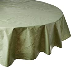 Carnation Home Fashions Vinyl Tablecloth with Polyester Flannel Backing, 70-Inch Round, Sage