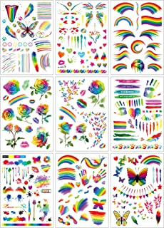 Le Fu Li 9 Sheets Colorful Rainbow Flag Butterfly Flowers Body Art Watercolor False Temporary Tattoos Stickers for Gay Pride Equality Men Women Parades Festival Party Celebration Supplies