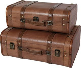 Soul & Lane Abby Decorative Wooden Vintage Style Suitcases (Set of 2)   Storage Trunk Chest Set for Travel Theme Parties Birthdays Home Decor