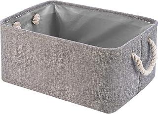Perber Storage Baskets,Decorative Collapsible Rectangular Linen Fabric Storage Bin,Underwear,Tie,Bras,Socks,Closet and Dre...