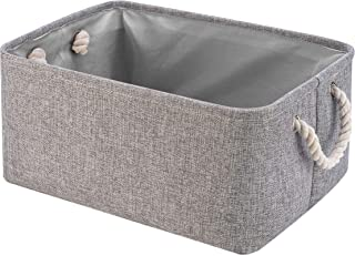 Perber Storage Baskets,Decorative Collapsible Rectangular Linen Fabric Storage Bin,Underwear,Tie,Bras,Socks,Closet and Dresser Organizer- Grey Small