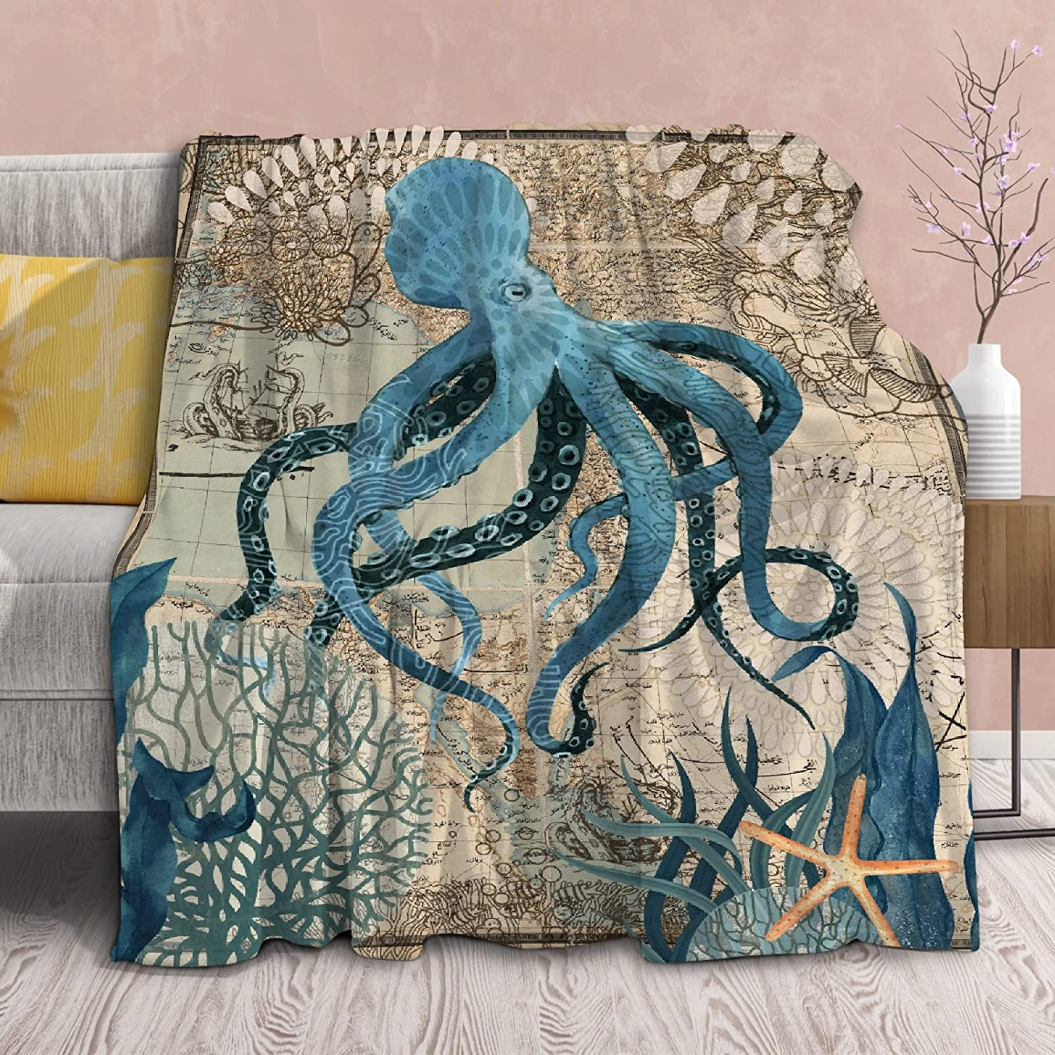 Blanket Octopus OFFicial site Retro Fish Lightweight Air 100% quality warranty Throws Condition Soft