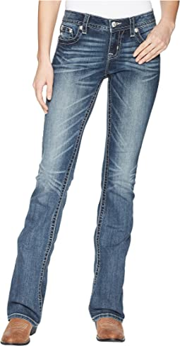 Miss Me - Star and Horseshoe Bootcut Jeans in Dark Blue