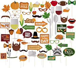 Thanksgiving Photo Booth Props Set - 60-Pack Handheld Photobooth Props, Sticks, and Adhesive Kit, DIY Party Supplies and Decorations