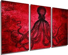 Canvas Quest 36 x 18 Total - Lord Bodner Octopus Triptych Metal Print Wall Art - Red. 3 Panel Split blk. Kraken HD Aluminum Print