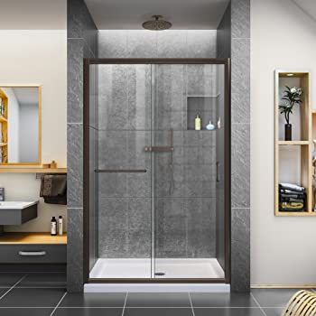 DreamLine Infinity-Z 44-48 in. W x 72 in. H Semi-Frameless Sliding Shower Door, Clear Glass in Oil Rubbed Bronze, SHDR-0948720-06