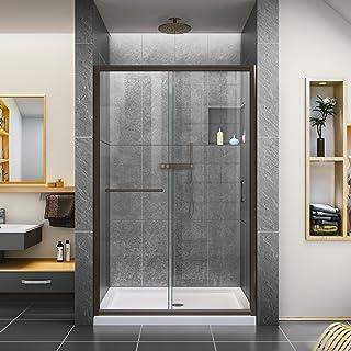 DreamLine Infinity-Z 44-48 in. W x 72 in. H Semi-Frameless Sliding Shower Door, Clear Glass in Oil Rubbed Bronze, SHDR-094...