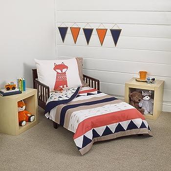 Carter's Aztec 4 Piece Toddler Bedding Set, Navy, Cream, Orange, Beige
