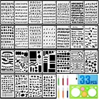 25PCS Alphabet Stencils with 6PCS Color Pens Geometric Drawing Tool and Waterproof Bag for Bullet Journaling and Painting for Adults//Children Letter Stencils