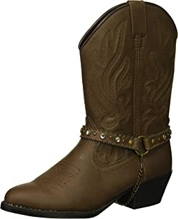Smoky Children's Pawnee Embroidered Distressed Western Cowboy Boots - Brown