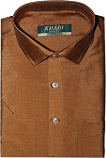 PRAKASAM COTTON Mens Formal/Dupion Silk Slim fit/Half Sleeve Shirt Shirts Look Trendy Mens Shirts with Silk Designer Shirt...
