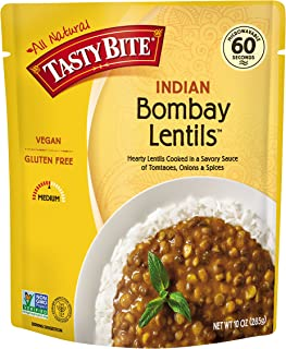 Tasty Bite Indian Entrée Bombay Lentils 10 Ounce (Pack of 6), Fully Cooked Indian Entrée with Hearty Lentils and Spices in a Tomato Sauce, Vegan, Gluten Free, Microwaveable, Ready to Eat