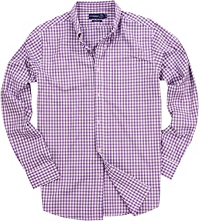 Men's Stretch Fit Gingham Plaid Button Down Long Sleeve Shirt